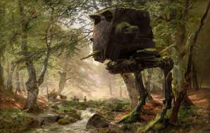 wars, star, животные, лес, робот, будущее