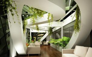 интерьер, гостиная, растения, диван