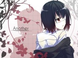 аниме, another, девушка, взгляд, фон
