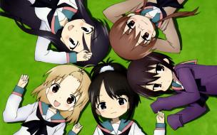 аниме, a channel, девушки, фон, взгляд