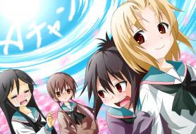 аниме, a channel, фон, взгляд, девушки