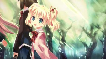 аниме, kin-iro mosaic, фон, взгляд, девушка
