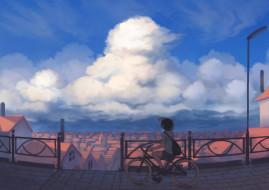 обои для рабочего стола 1920x1357 аниме, unknown,  другое, фон, взгляд, девушка