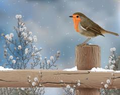 рисованное, животные, природа, снег, растение, столбик, рисунок, птица