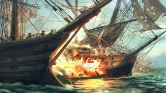 огонь, пираты, море, битва, корабли