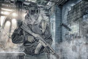 лицо, оружие, фон, противогаз, мужчина, штурмовая винтовка