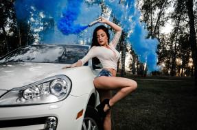 автомобили, -авто с девушками, дым, деревья, трава, лес, шорты, porsche