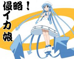 аниме, shinryaku,  ika musume, девушка, фон, взгляд