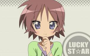 обои для рабочего стола 1920x1200 аниме, lucky star, фон, взгляд, девушка
