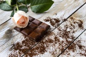 еда, конфеты,  шоколад,  сладости, плитка, шоколад, роза