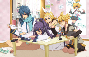 обои для рабочего стола 2000x1294 аниме, vocaloid, фон, взгляд, девушка