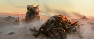 обои для рабочего стола 2868x1200 фэнтези, _star wars, животные, татуин, имперец, арт, star, wars, пустыня, песчаные, люди
