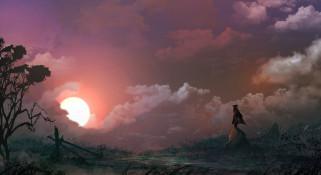 фэнтези, пейзажи, скалы, закат, солнце, фигура, мужчина, дерево, шляпа