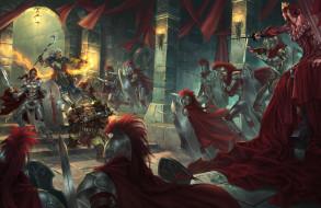 фэнтези, люди, битва, замок, доспехи, оружие, маг, красные, плащи, войны