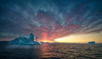 обои для рабочего стола 2048x1190 природа, айсберги и ледники, море, океан, ледник, гренландия, солнце