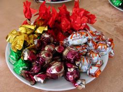 еда, конфеты,  шоколад,  сладости, тарелка, лакомство, ассорти
