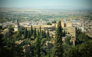 города, гранада , испания, панорама, альгамбра