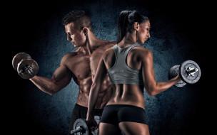 спорт, body building, шортики, фигура, майка, брюнетка, мужчина, девушка, фитнес, гантели, торс, мускулы, фон