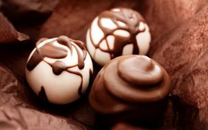 еда, конфеты,  шоколад,  сладости, трио, шоколадное