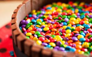 еда, конфеты,  шоколад,  сладости, драже, разноцветное, много