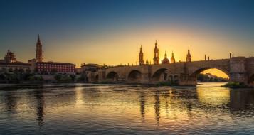 сарагоса, города, - мосты, река, мост