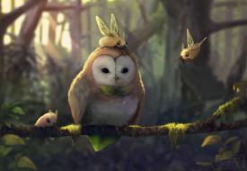 рисованное, животные,  сказочные,  мифические, collab, арт, существа, крылья, сова, ветка, дерево
