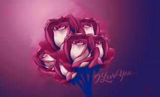 праздничные, день святого валентина,  сердечки,  любовь, фон, розы