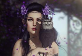 фэнтези, эльфы, фон, взгляд, девушка