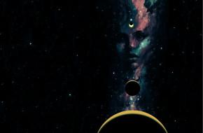 фэнтези, существа, sci-fi, девушка, космос, звезды, планеты, взгляд, арт, лицо