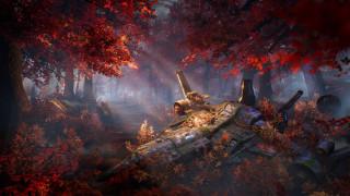фэнтези, космические корабли,  звездолеты,  станции, корабль, арт, sci-fi, деревья, осень, лес