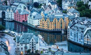 города, олесунн , норвегия, яхты, здания, дома, каналы