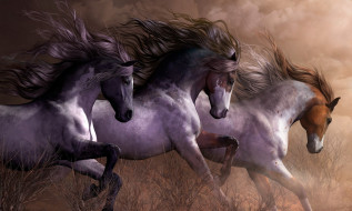 обои для рабочего стола 1920x1152 рисованное, животные,  лошади, кони, природа, фон