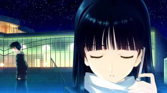 аниме, white album, фон, взгляд, девушка