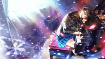 аниме, white album, взгляд, девушка, фон