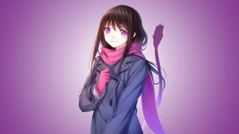 аниме, noragami, фон, взгляд, девушка