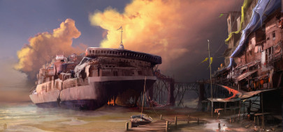 море, парусник, пирс, остов, тучи, поселение, дома, корабль, танкер