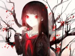 аниме, jigoku shoujo, enma, ai, адская, девочка, jigoku, shoujo, матроска, красные, глаза, ветки, hell, girl, школьница