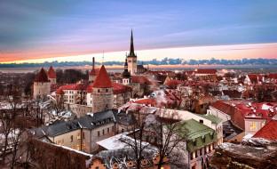 города, таллин , эстония, небо, зима, здания, дома, закат, панорама, город
