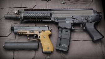 штурмовая винтовка, P220, оружие, SIG Sauer, глушитель, пистолет