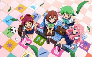 аниме, baka to test to shoukanjuu, фон, взгляд, девушки