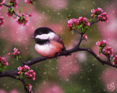 рисованное, животные,  птицы, птица, цветы, пчела, лето, дерево
