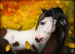 рисованное, животные,  лошади, лошадь
