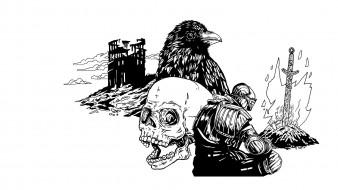 рисованное, минимализм, ворона, череп