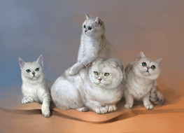 рисованное, животные,  коты, кошки