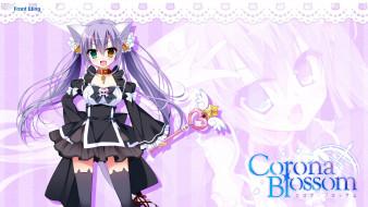 corona blossom, аниме, девушка, взгляд, фон