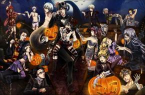аниме, kuroshitsuji, хеллоуин, бинты, мумия, арт, праздник, тыквы, halloween, луна, ночь, череп, темный, дворецкий