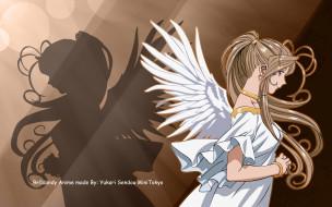 аниме, ah,  my goddess, девушка, взгляд, фон