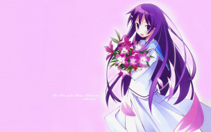 аниме, hanbun no tsuki ga noboru sora, фон, взгляд, девушка