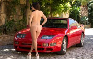 эротика, девушки и автомобили, грудь, niemira, взгляд, фон, девушка
