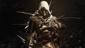 видео игры, assassin`s creed iv,  black flag, мужчина, фон, сабля, пистолет